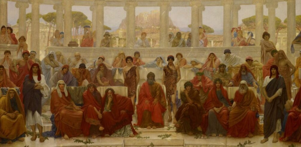 william_blake_richmond_-_an_audience_in_athens_during_agamemnon_by_aeschylus